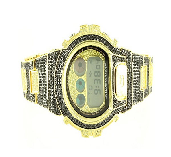 Original G-Shock For Men DW6900 Black Yellow Iced Out Lab Diamond Custom Gold Finish