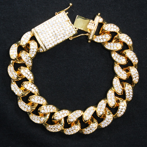 Men's Iced Out Lock 20mm 14k Gold Finish Cuban Bracelet