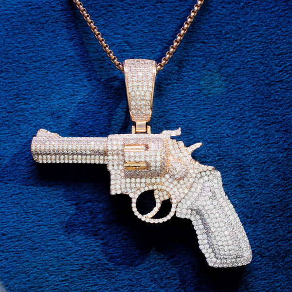 Mens Pistol Gun Two Tone Rose Gold Micro Pave Pendant Chain