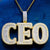 Gold Tone Icy CEO Baguette Micro Pave Custom Pendant