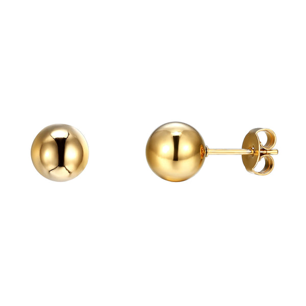 Gold Tone Bead Ball Earrings Clearance On Sale Stainless Steel Mens Ladies Studs