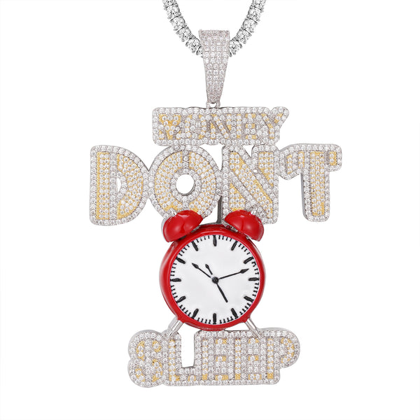 Bling Money Dont Sleep Two Tone Time Clock Grind Hip Hop Pendant