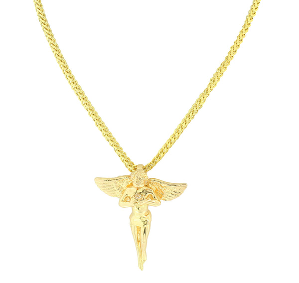 Gold Angel Pendant Necklace Set 18K Finish Charm