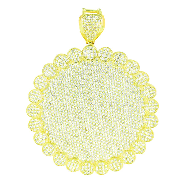 Round Medallion Flower Pendant Iced Out 14k Yellow Gold Finish