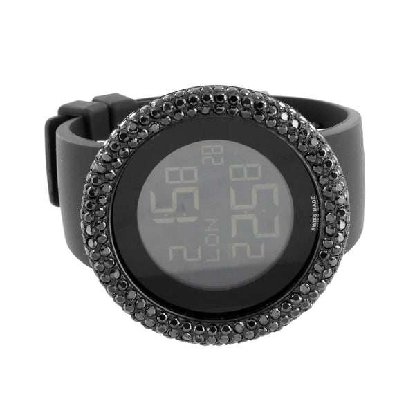 Mens Black Finish Watch Round Face Digital Black Sport Band