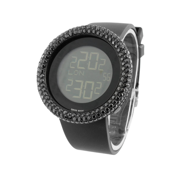 Mens Black Finish Watch Round Face Digital Black Simulated Diamonds Sport Band