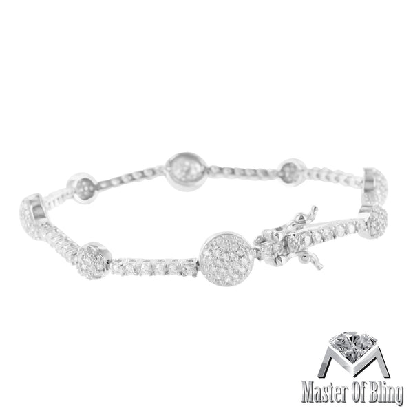 Ladies White Gold Finish 925 Silver Lab Diamond Cluster Bracelet