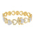 Heart Link Bracelet Womens 925 Sterling Silver Gold Finish