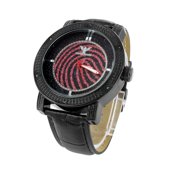 Diamond Watch Bezel Black PVD Stainless Steel Back Leather Back Red Dial Analog