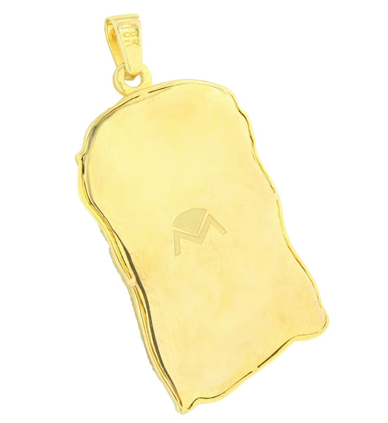 Jesus Face Pendant Free Franco Chain 18K Gold Layer Simulated Diamond