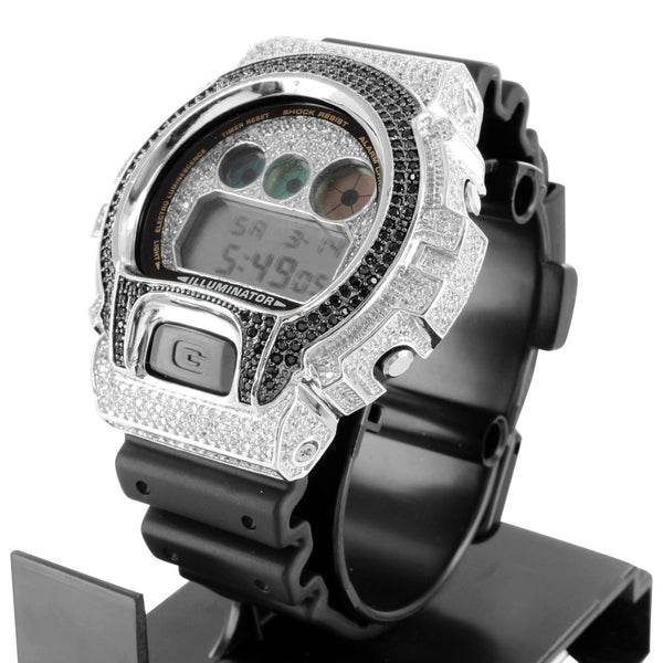 G Shock DW6900 Watch Silicone Band Black White Lab Diamond