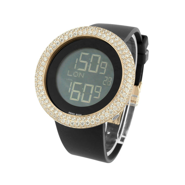 Rose Gold Mens Watch Custom Simulated Diamonds Black Rubber Strap Digital Jojo