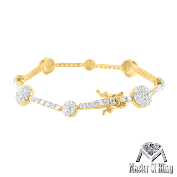 Womens 14K Gold Finish 925 Silver Lab Diamond Bracelet