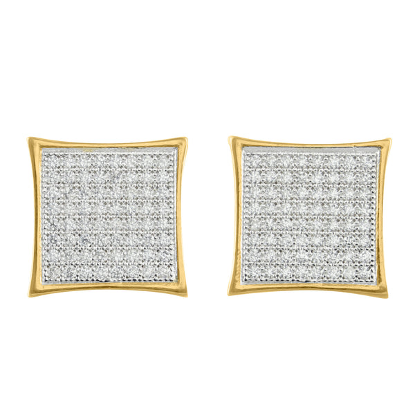 14k Gold Tone Earrings Kite Style Micro Pave