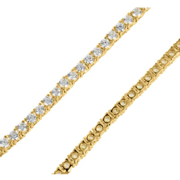 14k Yellow Gold Finish Simulated Lab Diamond 1 Row Necklace