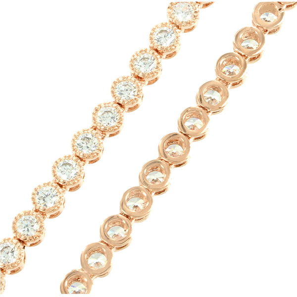 14K Rose Gold Finish Cluster Design Simulated Diamond Necklace