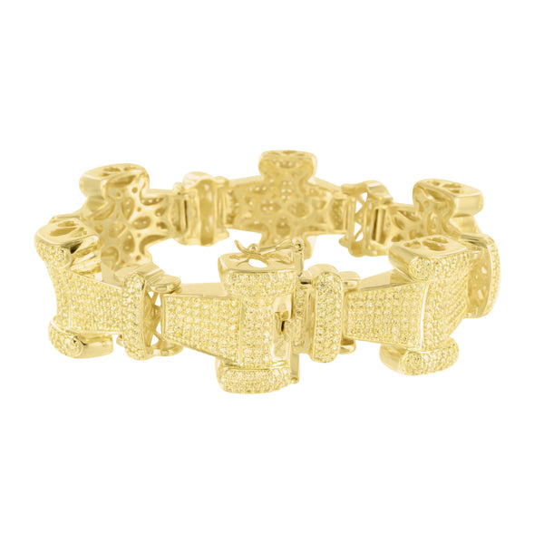 Canary Lab Diamond Iced Out Metal I Link Bracelet