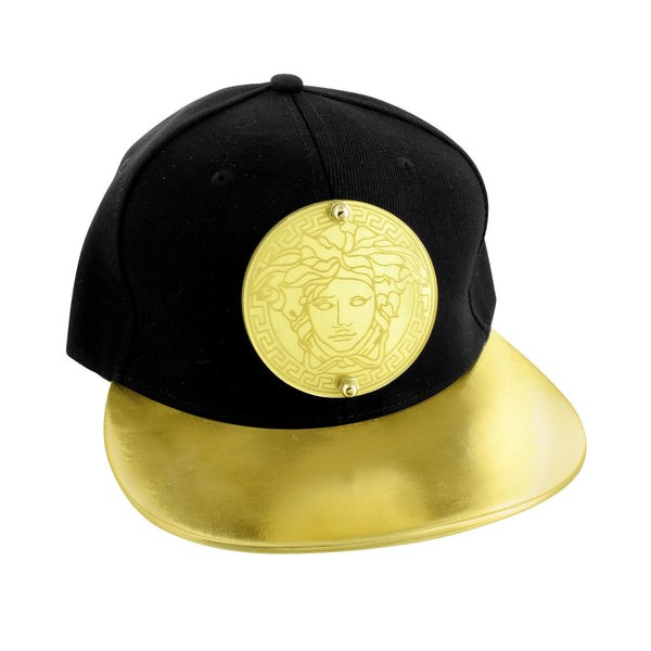 Medusa Gold Black Hat Snap Back Cap Designer