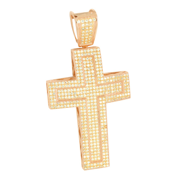 Rose Gold Tone Jesus Cross Pendant Iced Out Simulated Diamonds Micro Pave
