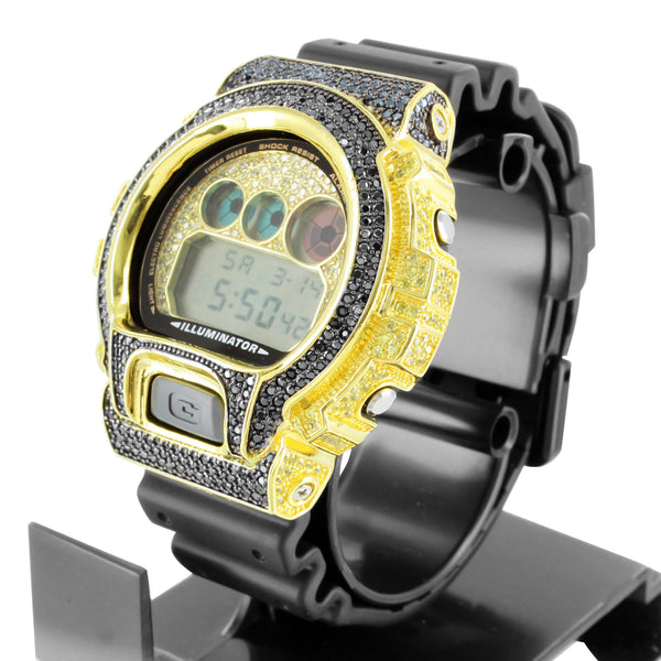 Black & Yellow Lab Diamond G-Shock DW6900 Silicon Band Watch