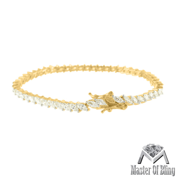 Yellow Gold Finish Sterling Silver Ladies Pear Cut Lab Diamond Bracelet