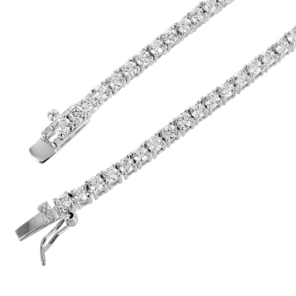 14k White Gold Finish Lab Diamond Tennis Link Solitaire Necklace