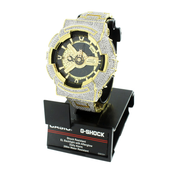 Mens G-Shock Watch GA110GB-1A  Custom Dig-Ana Gold Plate 52 MM
