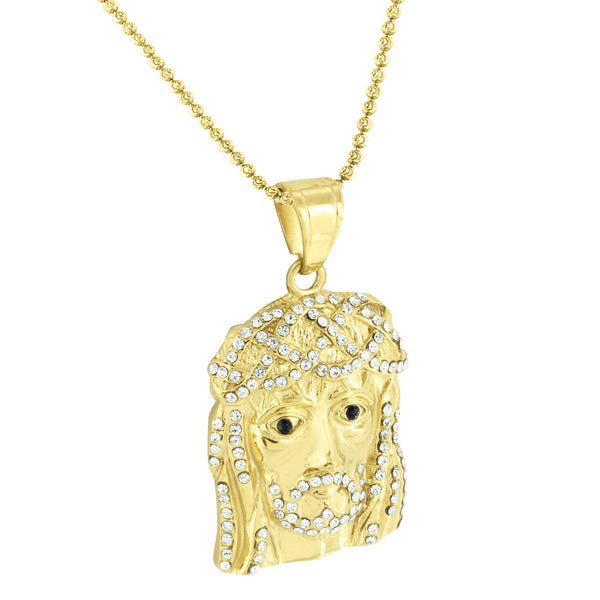 Gold Finish Jesus Pendant Stainless Steel Charm Simulated Diamonds Free Necklace