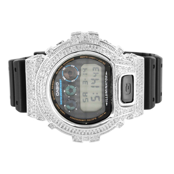 Rubber Strap Simulated Lab Diamond G-Shock DW6900 Watch