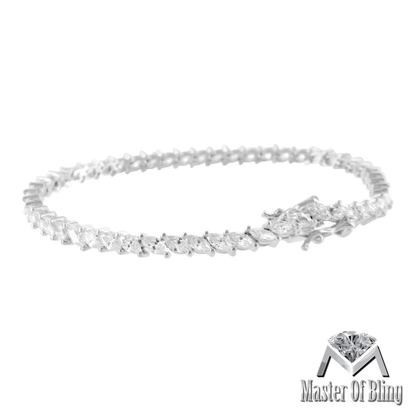 White Gold Finish 925 Solid Silver Womens Pear Cut Lab Diamond Bracelet