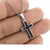 Cross Pendant 14k White Gold Finish Onyx Lab Diamond 925 Silver Free Chain