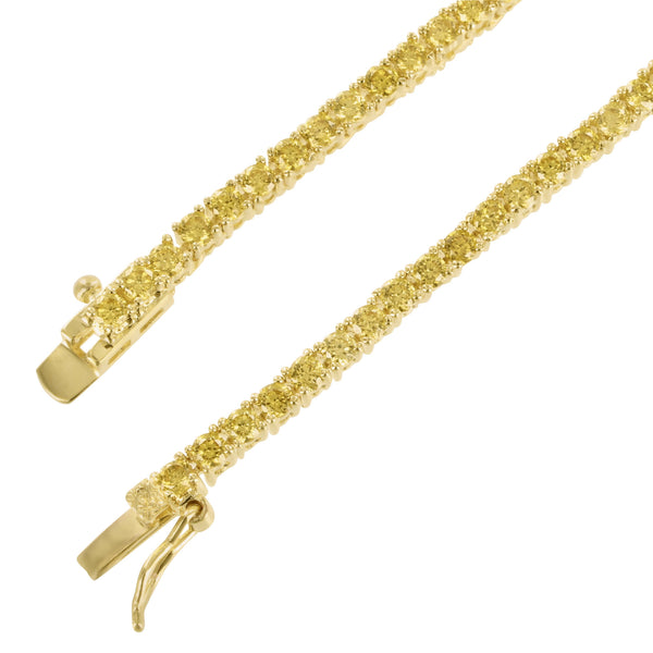 Yellow Gold Finish Canary Lab Diamond Sterling Silver Tennis Necklace