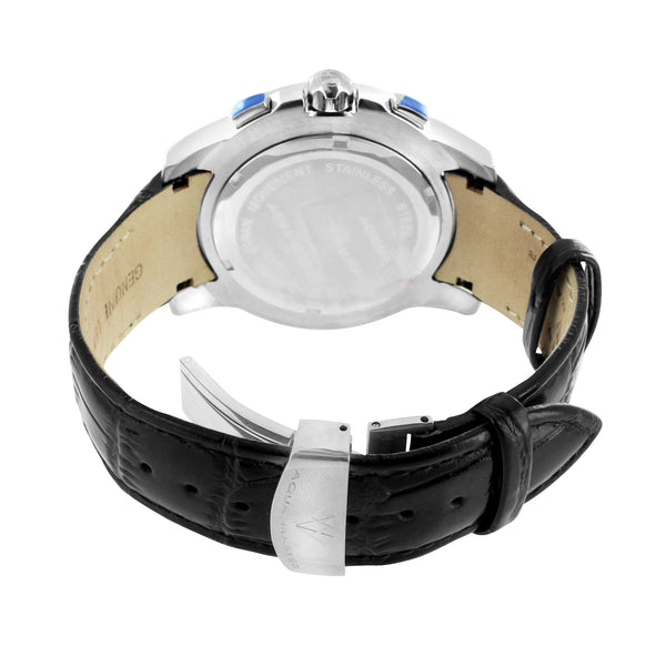 Black Leather Strap Watch Genuine Diamonds 3 Time Zone Display Aqua Master New