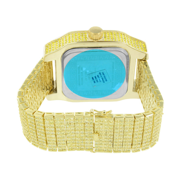 Fully Bling Watch Canary Simulated Diamonds Mens