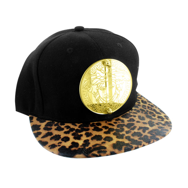 Leopord Print Medusa Hat Black Gold Color