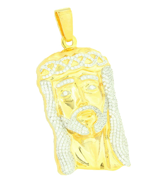 Jesus Pendant Simulated Diamond 18K Gold Layer