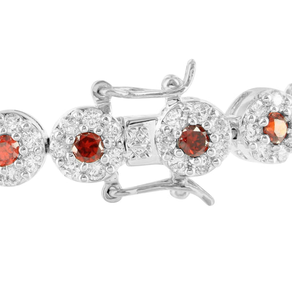 Red Lab Diamond Solitaire Cluster Link White Gold Finish Bracelet