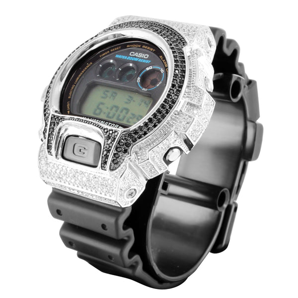 G-Shock Rubber Band DW6900 White Black Lab Diamond Watch
