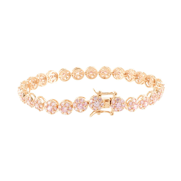 Round Bracelet 14K Rose Gold Finish Cluster Lab Diamonds