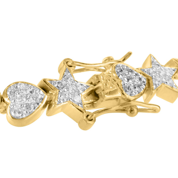 Heart Moon Link Bracelet Star Gold Finish Simulated Diamonds