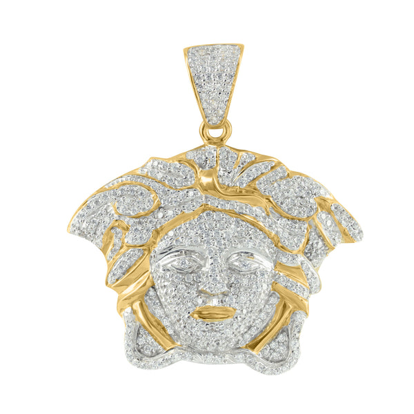 Medusa Face Yellow Gold Tone Simulated Diamond Pendant Sterling Silver Charm