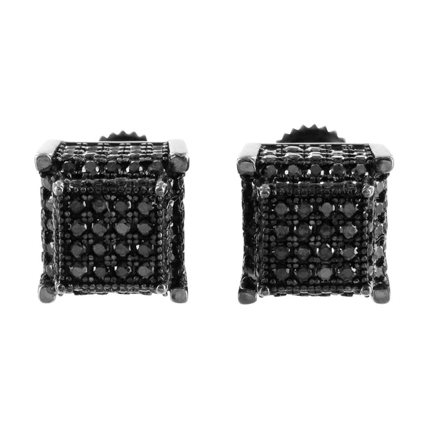 Mens Onyx Black Tower Style Cube Earrings