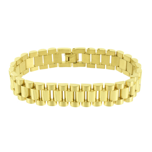 Stainless Steel Presidential Bracelet 14K Yellow Gold Finish