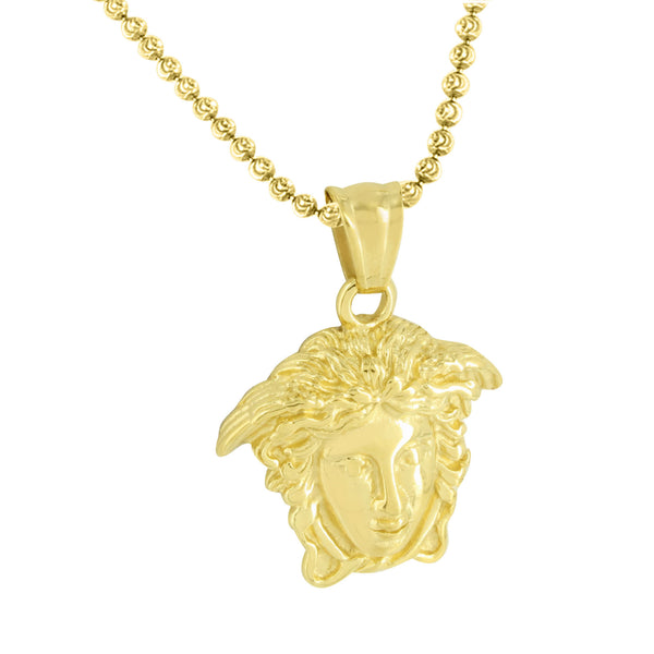 Greek Medusa Face Pendant Moon Cut Necklace Gold Over Stainless Steel Solid Back