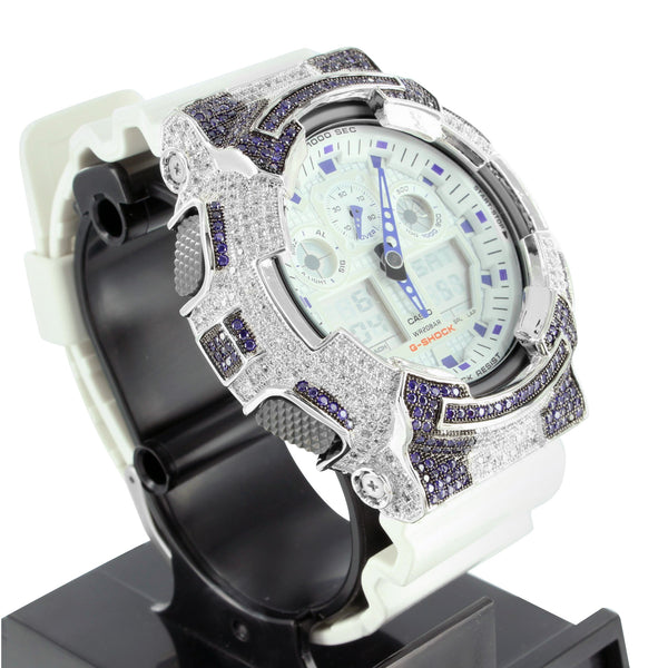 Blue White Lab Diamond G-Shock GA100LG Analog Mens Watch