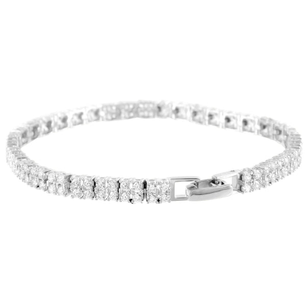 Sterling Silver Womens Bracelet Simulated Diamonds Square Link Unique