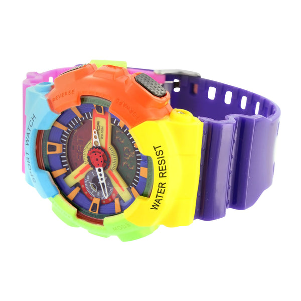 Multi Color Rainbow Vibrant Watch Steel Back Analog Digital Time
