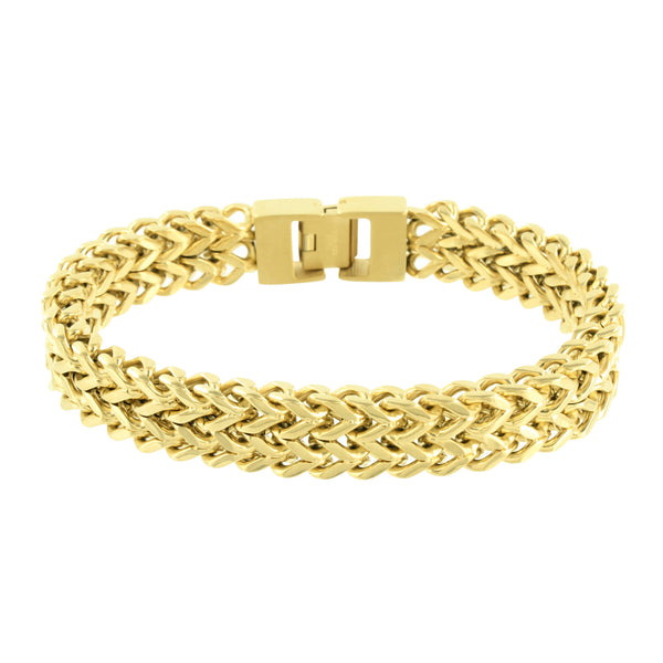 2 Row Franco Bracelet 14K Yellow Gold Finish Brand New Mens