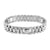 Presidential Style Mens Bracelet White Gold On Stainless Steel Elegant 15 MM
