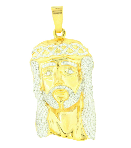 Jesus Pendant Sterling Silver Gold Finish Lab Diamond with franco chain